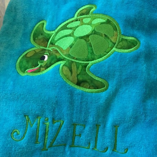 turtle applique beach towel