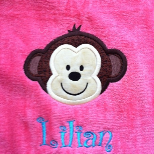 Monkey Applique beach towel