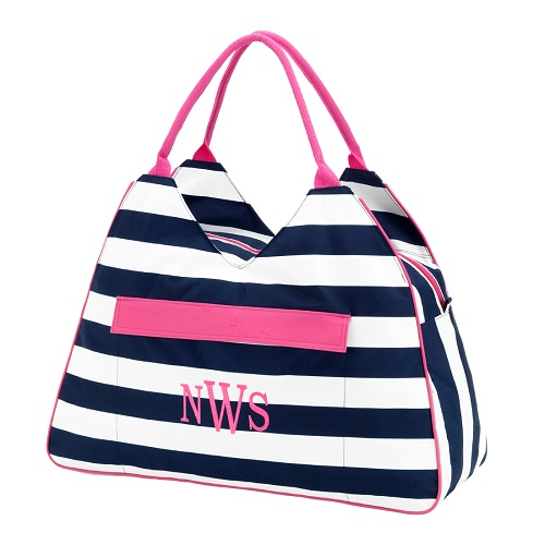 navy stripe beach bag