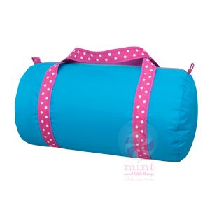 aqua with pink trim duffel