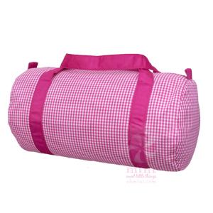 aqua with pink trim duffel