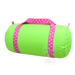 lime with pink trim duffel