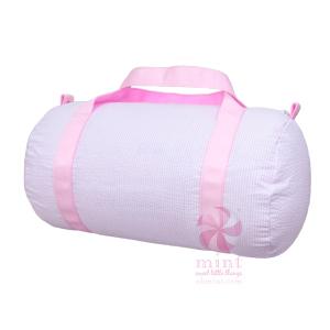 pink seersucker duffel