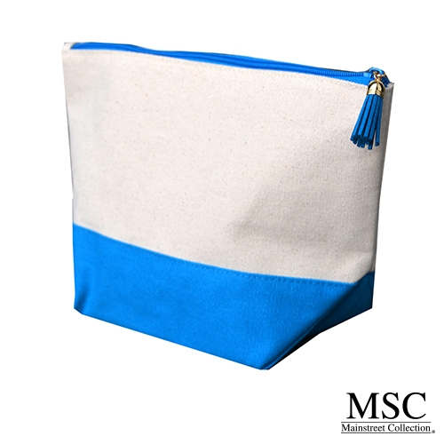Turquoise canvas cosmetic case