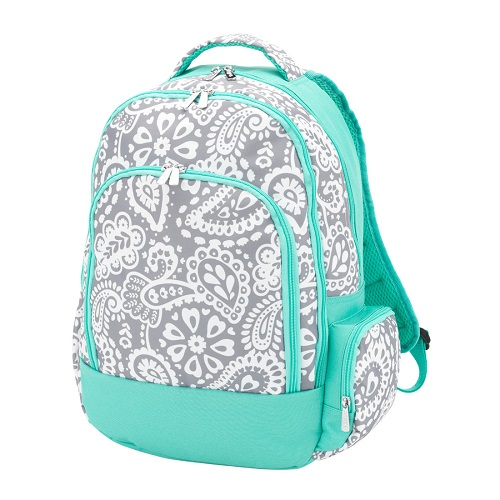 gray paisley backpack