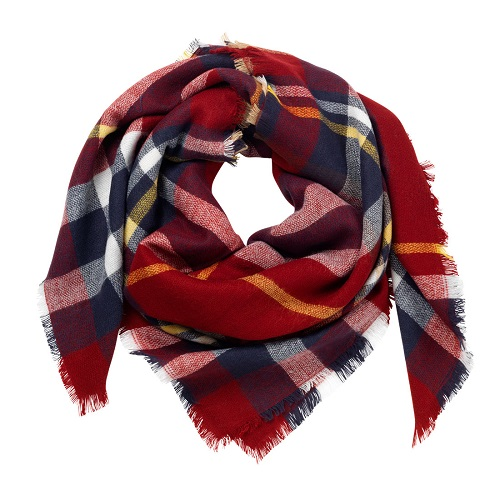 garnet plaid blanket scarf