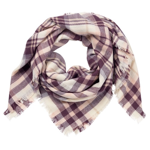 Plum Plaid Blanket Scarf