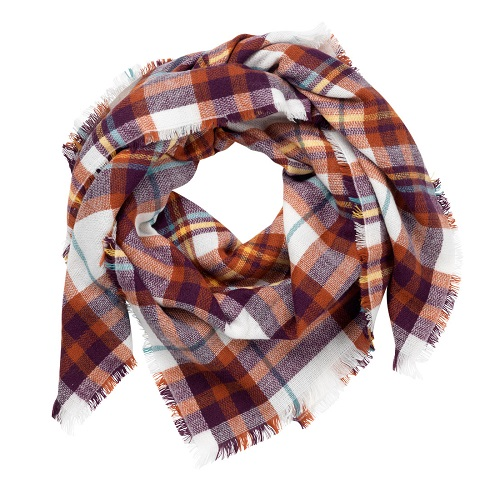 Rust Plaid Blanket Scarf