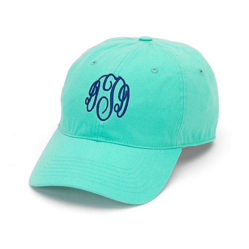 aqua embroidered hat