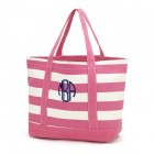 pink striped tote