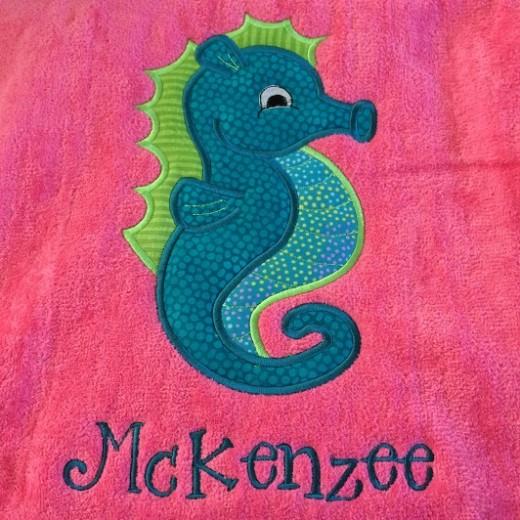 Seahorse Applique Beach Towel