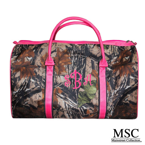 camo duffel with pink trim