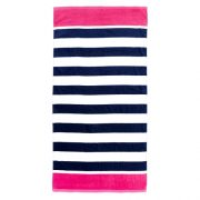 Preppy navy striped beach towel