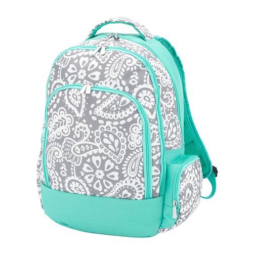 gray paisley backpack